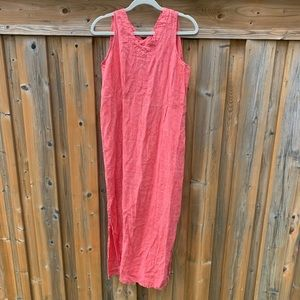Flax linen maxi tank dress red white stripe